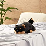 "LivHeart Premium Nemu Nemu Sleepy head Animals Body Pillow Black Plush Dog KuroShiba 'Kotetsu' size M (22""x9.5""x5.5"") Japan import 48769-73 Huggable Super Soft Stuffed Toy"