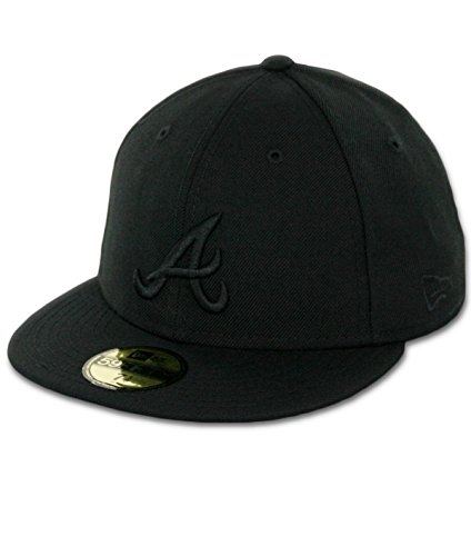 MLB Atlanta Braves Black on Black 59FIFTY Fitted Cap, 7 5/8 (Basic Logo Fitted Hat)