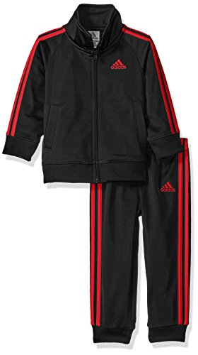 adidas Baby Boys' Iconic Tricot Jacket and Pant Set, Caviar Black/Red, 18 Months