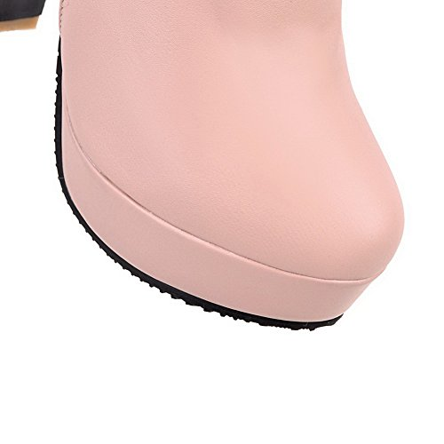 Allhqfashion Womens Low-top Cerniera Materiale Morbido Tacchi Tondi Stivali Chiusi Punta Rosa Rosa