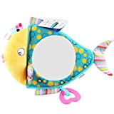 Royarebar Women's Accessories Cosmetic Mirror Kids Infant Lovely Fish Rolling Hand Grasp Mirrors Toy Colorful Safety Mirror Gift