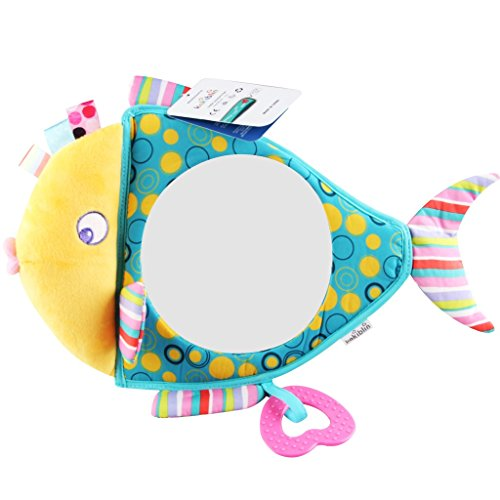 Royarebar Women's Accessories Cosmetic Mirror Kids Infant Lovely Fish Rolling Hand Grasp Mirrors Toy Colorful Safety Mirror Gift by Royarebar