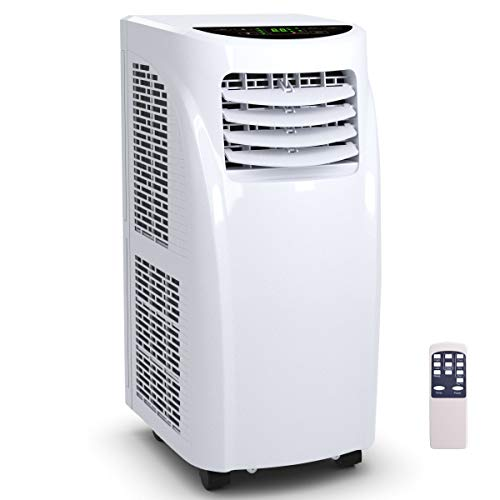 COSTWAY 10000 BTU Air Conditioner, Portable Air Conditioner Unit with Remote Control Dehumidifier Function Window Wall Mount, 4 Caster Wheel, Sleep Mode and 2 Fan Speed (Best Non Window Air Conditioners)
