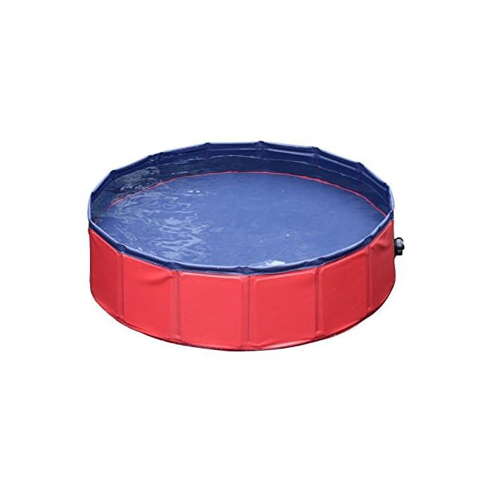 41rHH9p3X9L Ideal para rinfrescarsi en días calientes – gracias a esta piscina el su perro se será un saco Apto para uso interior y exterior – Fabricada en material robusto y fuerte Válvula de desagüe del agua práctica para el drenaje – borde estable reforzado