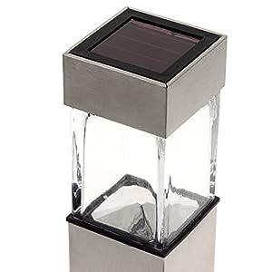 GreenLighting Solar Rectangular Bollard Pathway Light (Stainless Steel, 4 Pack)
