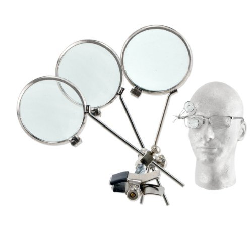 - 3.3X Triple Lens Clip-On Jeweler's Loopy Eye Loupe for Glasses - Stainless Steel Frame