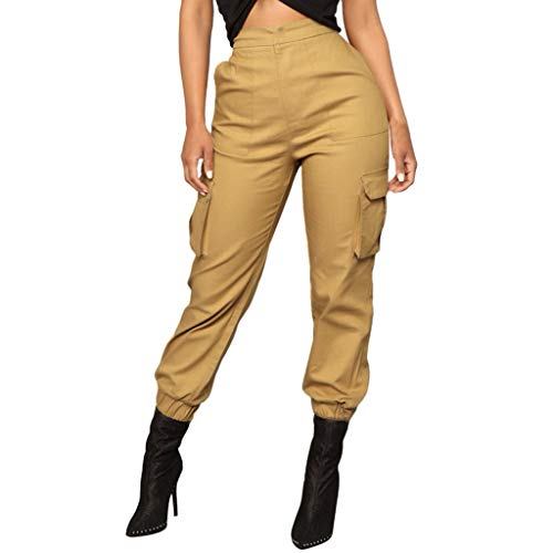 Women's Cargo Pants, Casual Outdoor Solid Color Elastic High Waisted Baggy Jogger Workout Pants with Pockets Khaki