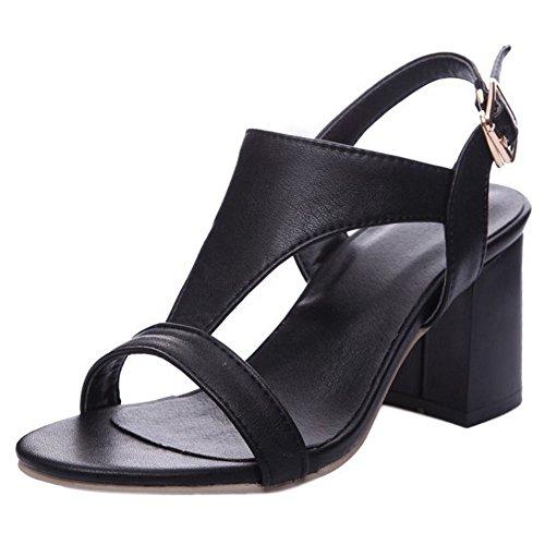COOLCEPT Mujer Cross Al Tobillo Slingback Sandalias Tacon Ancho medio Zapatos (42 EU, Black)