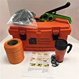 3/4'' Woven Polyester Cord Strapping Kit - Contains a 250' of Woven Polyester Strapping, 100 Wire Buckles, Tensioner with Cutter & Instruction Sheet in handy Tool Box. We even include a coffee mug!