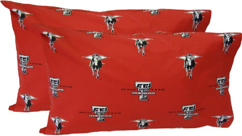 Texas Tech Pillowcase (College Covers Texas Tech Red Raiders Pillowcase Pair - King - Solid (Includes 2 Pillowcases))