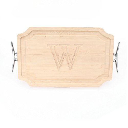 BigWood Boards 320-LCLT-W Carving Board with Scalloped Corners with Large Boat Cleat Handle in Cast Aluminum, 15-Inch by 24-Inch by 1.25-Inch, Monogrammed ''W'', Maple by BigWood Boards