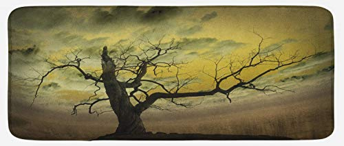 (Lunarable Landscape Kitchen Mat, Bare Tree Dramatic Cloudy Sky Dark Spooky Nature Evening View Picture, Plush Decorative Kithcen Mat with Non Slip Backing, 47