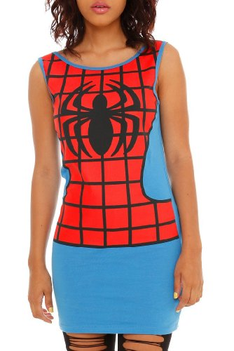Spider-Man (Spiderman Spider-Girl Marvel Comics) Girls Tank Top Tunic Full Fitted Costume Tank Dress (X-Large)