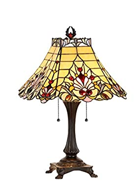 Chloe Lighting CH33363VI16-TL2 Tiffany-Style Victorian 2 Light Table Lamp 16-Inch Shade, Multi-Colored