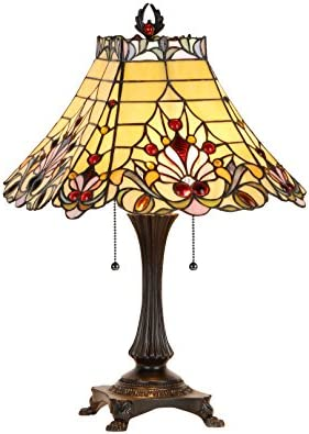 Chloe Lighting CH33363VI16-TL2 Abigale Tiffany-Style Victorian 2 Light Table Lamp with Shade, 23.8 x 16.4 x 16.4 , Multicolor