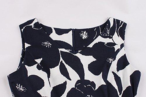 Fin del del del Estilo de 50s de Baile Vestidos Retro Curso Oscilación Mujer para VERNASSA con Vestido 1950s Estilo Tarde Coctel del del del Algodón Azul la Marino de Blanca flor 1620 Club de Hepburn Vendimia la de qgzwxACwR