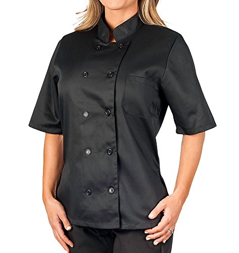 Chef Coat Jacket Uniform (Womens Black Classic Short Sleeve Chef Coat, S)