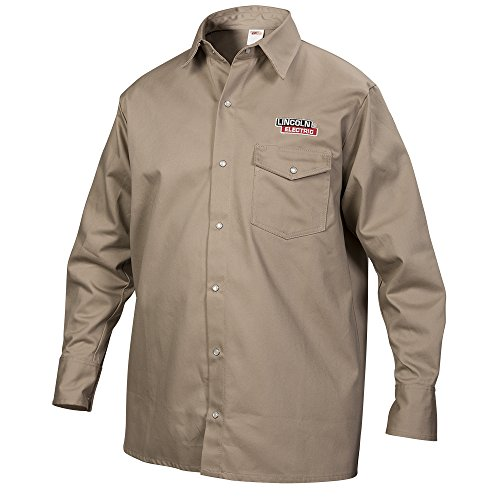 Lincoln Electric Khaki Large Flame-Resistant Cloth Welding Shirt by Lincoln Electric