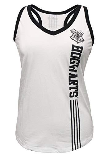 Bioworld Harry Potter Hogwarts Juniors Tank Top House Crest Logos Muscle Tee Shirt (Small) White ()