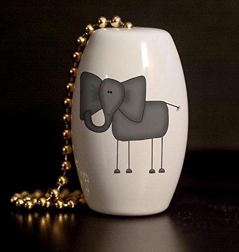 Funny Elephant Porcelain Fan / Light (Elephant Pulls)