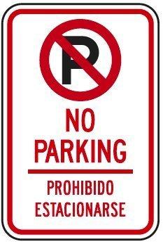 engilish bilingüe español no aparcamiento con símbolo señal ...