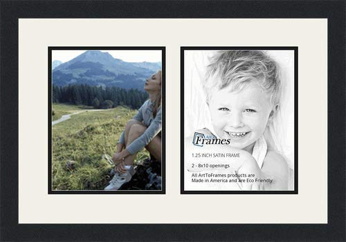 ArtToFrames Double-Multimat-36-61/89-FRBW26079 Collage Photo Frame Double Mat with 2-8x10 Openings and Satin Black Frame, Super White, 2-8x10