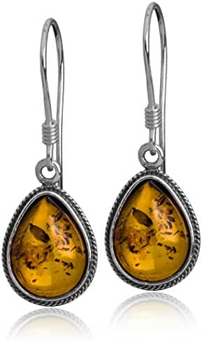 Sterling Silver Amber Classic Small Teardrop Earrings