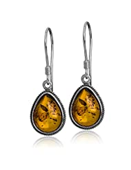Sterling Silver Amber Classic Teardrop Earrings