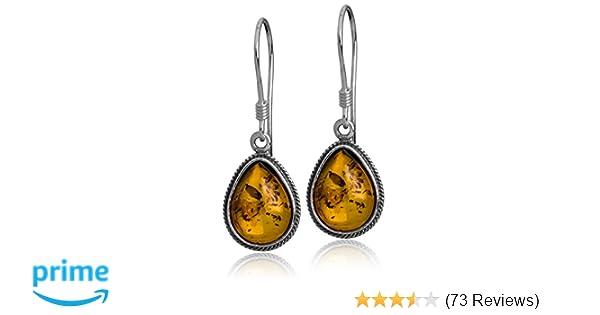 46d2e4abe Amazon.com: Sterling Silver Amber Classic Teardrop Earrings: Dangle Earrings:  Jewelry