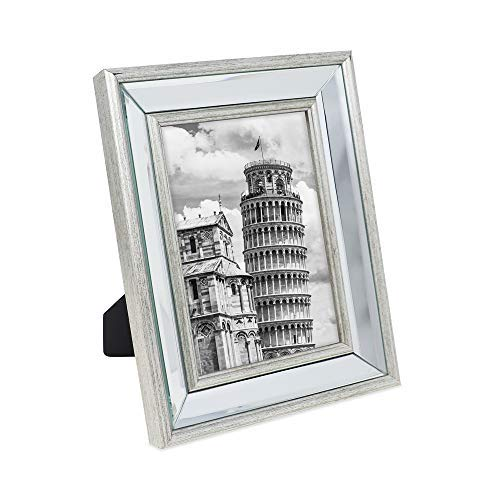 Isaac Jacobs 5x7 Silver Beveled Mirror Picture Frame - Classic Mirrored Frame with Slight Slanted Angle Made for Wall Décor Display, Tabletop, Photo Gallery and Wall Art (5x7, Silver) ()