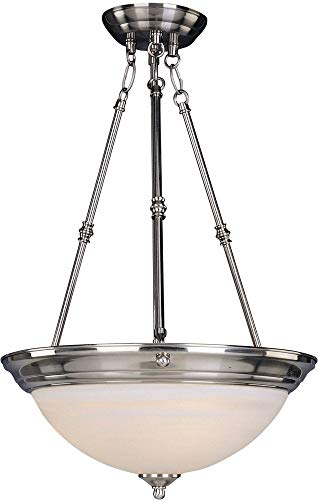 (Maxim 5846MRSN Essentials 3-Light Invert Bowl Pendant, Satin Nickel Finish, Marble Glass, MB Incandescent Incandescent Bulb , 60W Max., Dry Safety Rating, Standard Dimmable, Onyx Shade Material, 4032 Rated Lumens)