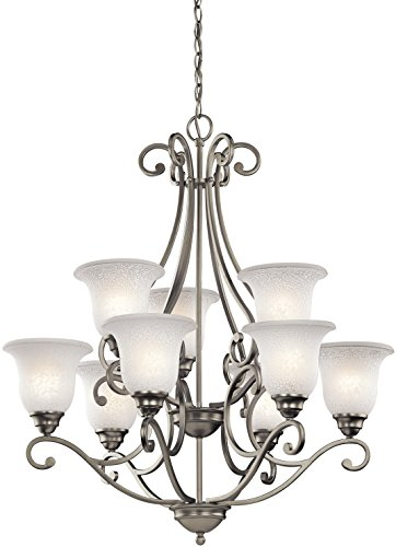 (Kichler 43226NI Camerena Large Chandelier Lighting, Brushed Nickel 9-Light (30