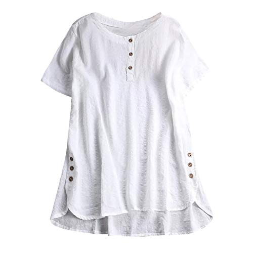 Aniywn Women Plus Size Round Neck T-Shirt Summer Loose Short Sleeve Kaftan Casual Linen Button Tunic Blouse White