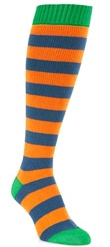 (Unisex Gator Royal Blue, Orange and Green Knitted Over the Calf Knee High Socks)