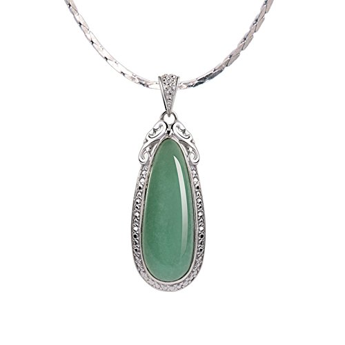 (iSTONE Natural Gemstone Green Jade Water Drop 925 Sterling Silver Pendant Necklace)