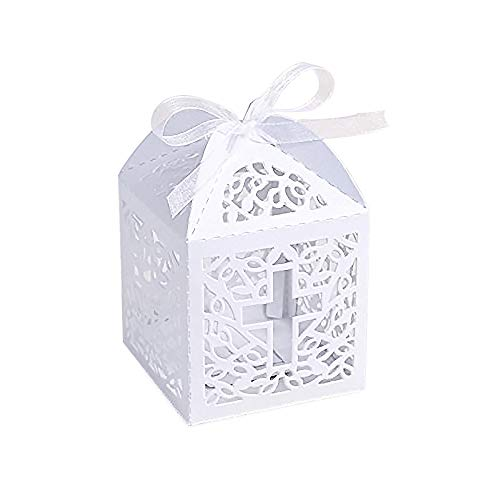 KAZIPA 50PCS Baptism Favor Boxes, 2.2''x2.2''x2.2''Laser Cut Favor Boxes with 50 Ribbons for Baby Shower Favors Baptism Decorations First Birthday Party