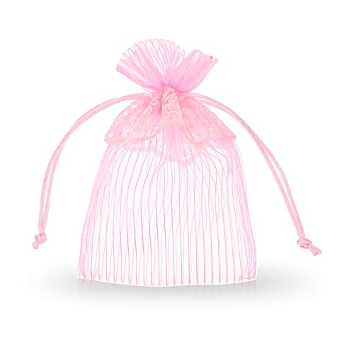 SumDirect 20Pcs 4x6 Inches Lace Stripe Organza Bags Jewelry Pouches with Round Drawstring for Wedding Party Festival Gift Candy Bags (Pink)
