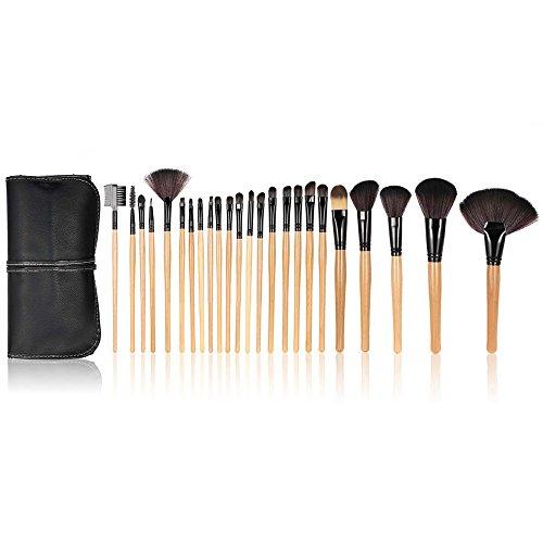Anself - Set de brochas profesionales para maquillaje kit 24 piezas + bolsa, color negro