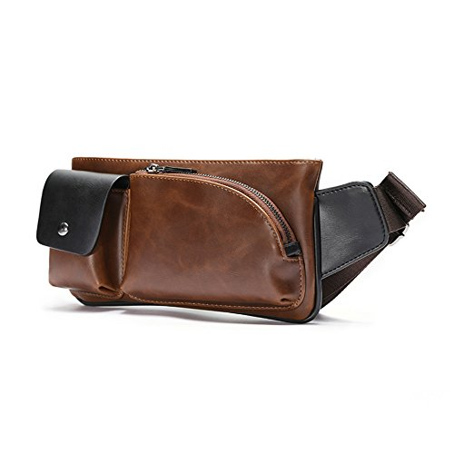 a131e3247eee Xiao.p.bag Crazy Horse PU Leather Men Chest Small Bag CrossBody Shoulder Bag  Travel Waist Pack Pocket 4 Colors 10.6