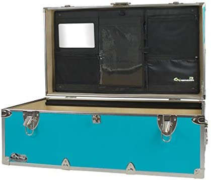 C N Footlockers Happy Camper Trunk with LidMate Organizer – Camping Storage Chest – Durable with Lid Stay – 32 x 18 x 13.5 Inches Teal