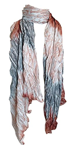 Peach Couture Women's Stylish Trendy Lightweight Crinkled Faded Tie Dye Scarf Sarong Tan & Grey