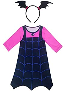 AOVCLKID Vampirina Costume Little Girls Dress up Toddler Baby Halloween Cosplay Outfit Kids Party Dresses (130/5-6Y,Blue 2)