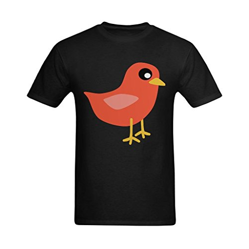(Fashion-In Men's Cute Red Bird Clipart Painting Design T-Shirt - Vintage Tee Shirt US Size XS)