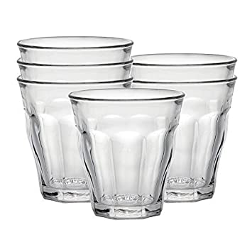 Duralex Made In France Picardie Clear Tumbler, Set of 6, 3-1/8 Ounce