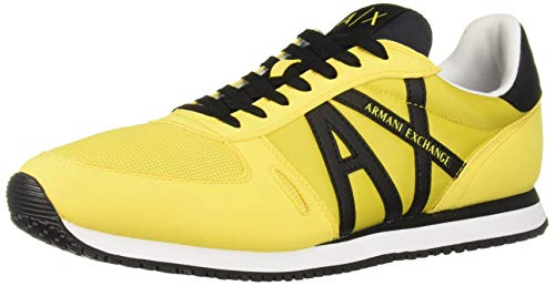 A|X Armani Exchange Men's Lace Up Sneaker with Logo, Lemon + Black, 7 ()