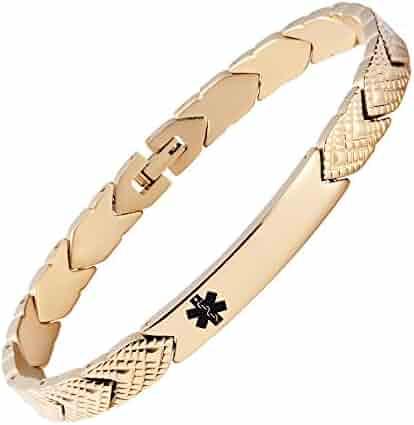 76b4827fbff Fashion Titanium Medical Alert id Bracelet for Women,Not Allergic-Free  Engraving