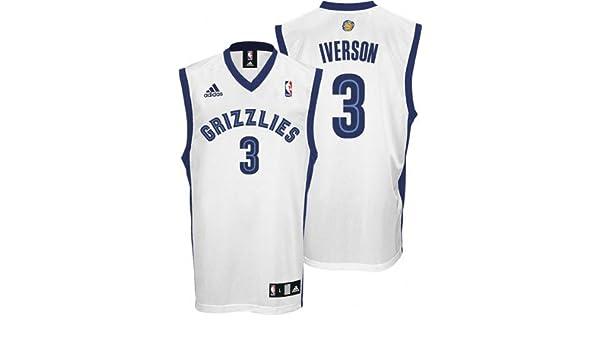 pretty nice e9409 3363f Allen Iverson Jersey: adidas White Replica #3 Memphis ...