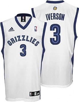 pretty nice 467f9 ffc69 Allen Iverson Jersey: adidas White Replica #3 Memphis ...