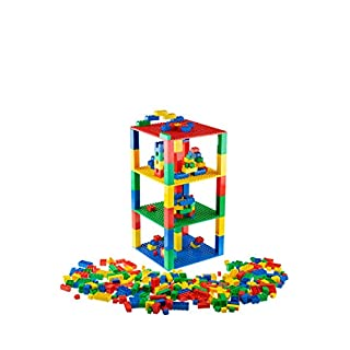 Strictly Briks - Brik Tower with 336 Classic Bricks - Blue, Green, Red, and Yellow - 4 6x6 inch Baseplates - 100% Compatible with All Major Building Brick Brands