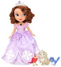 Princess Sofia doll wears a glowing amulet and can speak phrases with her animal friends — Clover the Rabbit, Mia the Bluebird, and Robin the Robin.